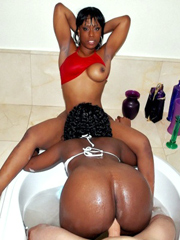 Two big booty black sluts shared one..