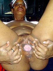The voluptuous old african granny is..